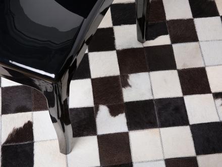 Handgjord patchwork matta - brun - ø140 cm - läder - BERGAMA