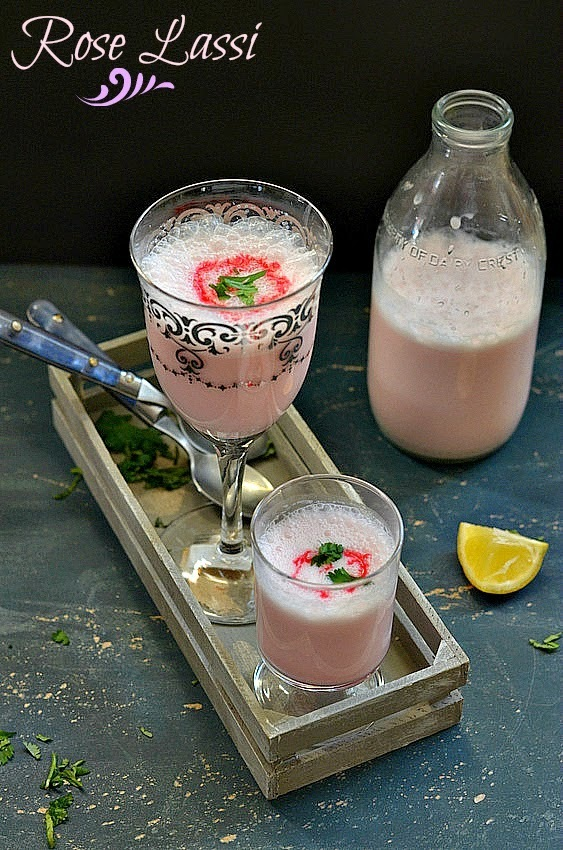 how to make lassi with rose syrup