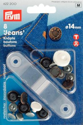 Jeansknappar mässing antik koppar Lagerkrans 14 mm 8 s