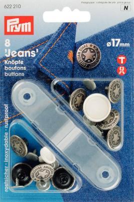 Jeansknappar mässing antik silver Amerikansk Stjärna 17 mm 8 s
