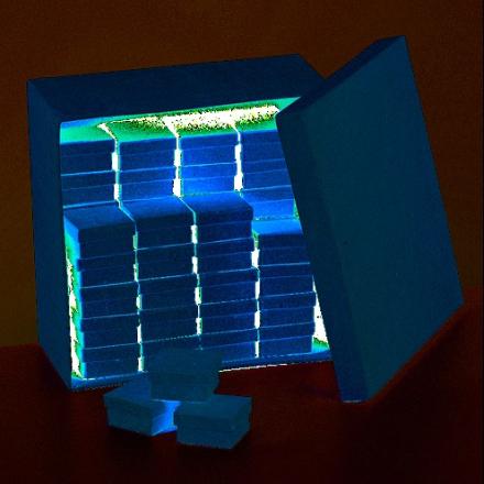 Ask butiksdisplay 23,5 x 23,5 x 12 cm - 51 delar kvadra