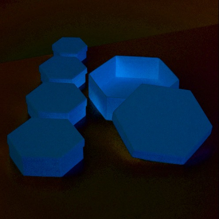 Ask hexagon 6,5/8,5/10,5/12,5/16,5 cm - 5 delar Se