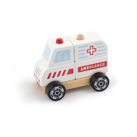 Leklyckan - Plockbil I Trä - Ambulans