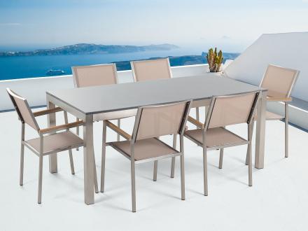 Trädgårdsmöbler i rostfritt stål - grå polerad granitbord 180 cm med 6 stolar i beige - GROSSETO