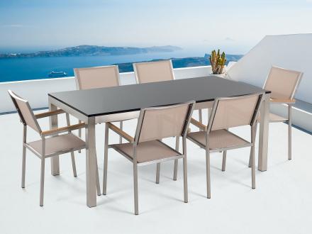 Trädgårdsmöbler i rostfritt stål - svart polerad granitbord 180 cm med 6 stolar i beige - GROSSETO