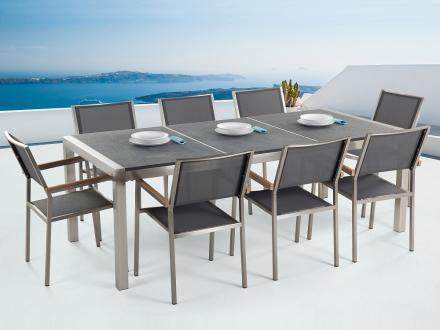 Trädgårdsmöbler i rostfritt stål med svart flammad granitskiva - 220cm - 8 grå stolar i textil - GROSSETO