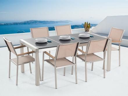 Trädgårdsmöbler - grå polerad delad granitbord 180 cm med 6 stolar i beige - GROSSETO