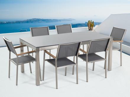 Trädgårdsmöbler i rostfritt stål - grå polerad granitbord 180 cm med 6 stolar i grå - GROSSETO