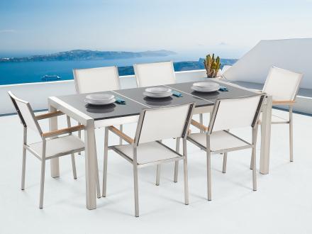 Trädgårdsmöbler - grå polerad delad skiva granitbord 180 cm med 6 vita stolar - GROSSETO