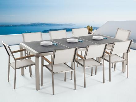 Trädgårdsmöbler i rostfritt stål med svart flammad granitskiva - 220cm - 8 vita stolar i textil - GROSSETO
