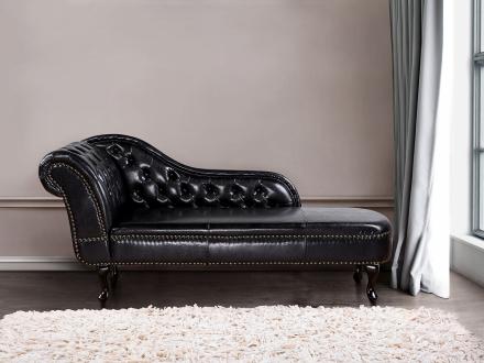 Soffa svart - schäslong - vilsoffa -chesterfiled - ECO-läder - NIMES