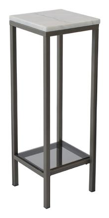Ascot sängbord 80 cm - Vit marmor / grå