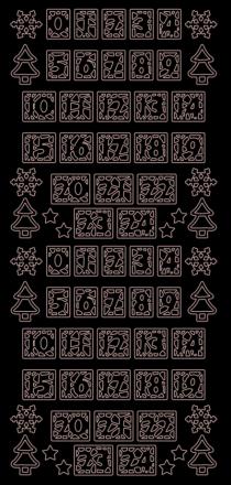 Hobbysticker 10 x 23 cm - guld Nummer för adventskalender