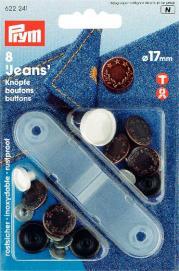 Jeansknappar mässing antik koppar Lagerkrans 17 mm 8 s