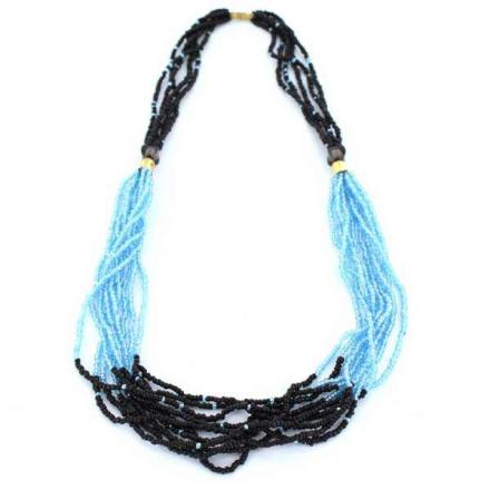 Halsband Afrikanska Masai blåsvarta glaspärlor