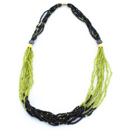 Halsband Afrikanska Masai grönsvarta glaspärlor