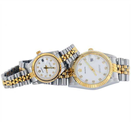 Klocka Two Tone Crown Bling Male n Female Stainless Steel Watches