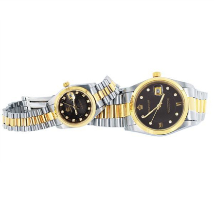 Klocka Two Tone Bling Crown Black Face Male n Female Stainless Steel Watches
