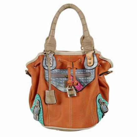 Handväska Miss Bling Stor Orange Läderväska