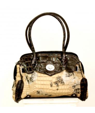 Handväska Miss Bling Sandfärgat Aligatorskinn