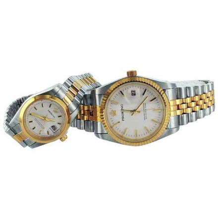 Klocka Two Tone Crown White Face Smooth Frame Male Female Stainless Steel Watches