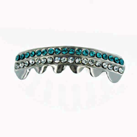 Grillz Silver Double Deck of Turquoise CZ Emeralds [BOTTOM]