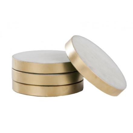 Svensk Marmor Underlägg med Guldkant Vit Marmor 8,5 cm 4-pack