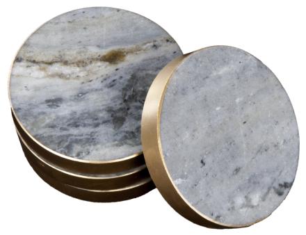 Svensk Marmor Underlägg med Guldkant Blå Marmor 8,5 cm 4-pack