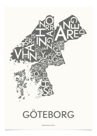 Kortkartellet Poster Göteborg Grå 50x70 cm