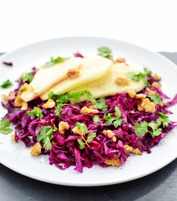 Cured red cabbage and pear salad