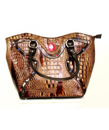 Handväska Miss Bling Guld- och Bronsglimmande Alligator med Diamanter