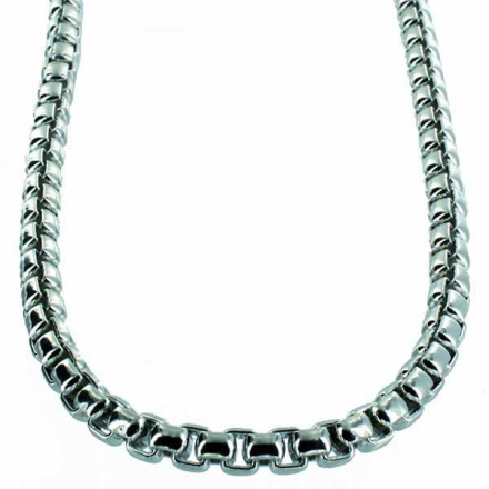 Halsband .925 Sterling Silver 5mm Half Round Box Chain Necklace