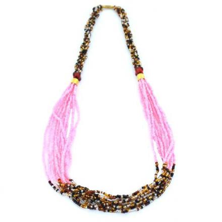 Halsband Afrikanska Masai sandrosa glaspärlor