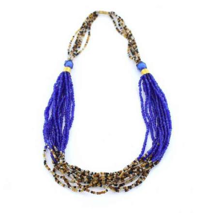 Halsband Afrikanska Masai sandblåa glaspärlor