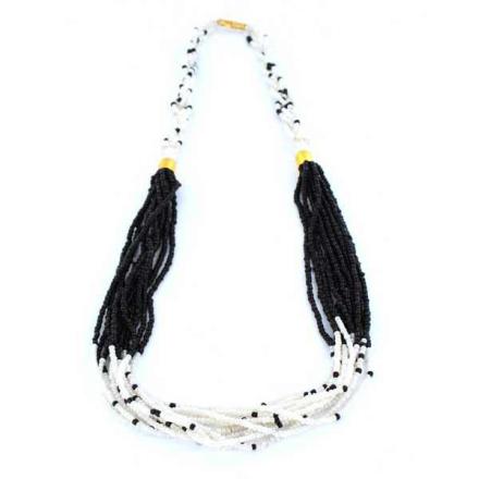 Halsband Afrikanska Masai vitsvarta glaspärlor