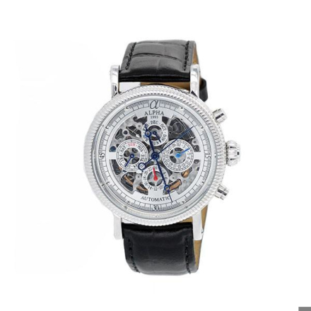 Klocka Alpha 21 Jewels Automaitc Multifunctional Skeleton Mans Watch With Silver Dial