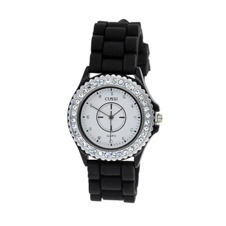 Klocka White Face Black Rubber Band Watch