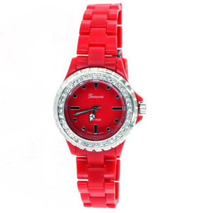 Klocka Iced Out All Red Plastic Band Watch