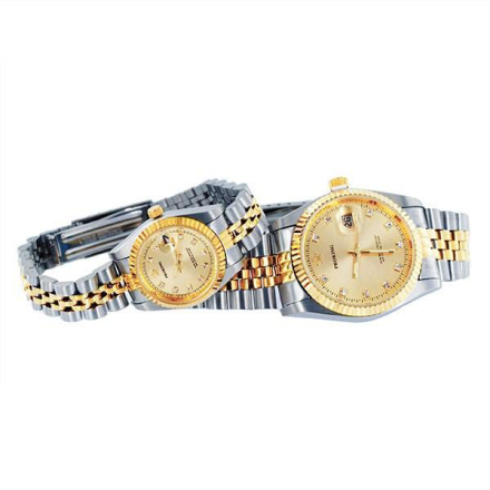 Klocka Two Tone Crown Bling Gold Face Male n Female Stainless Steel Watches