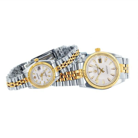 Klocka Two Tone Crown White Face Male n Female Stainless Steel Watches