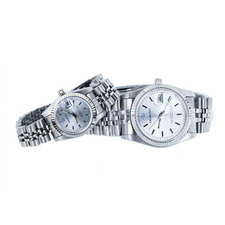 Klocka Crown Silver Face Male n Female Stainless Steel Watches