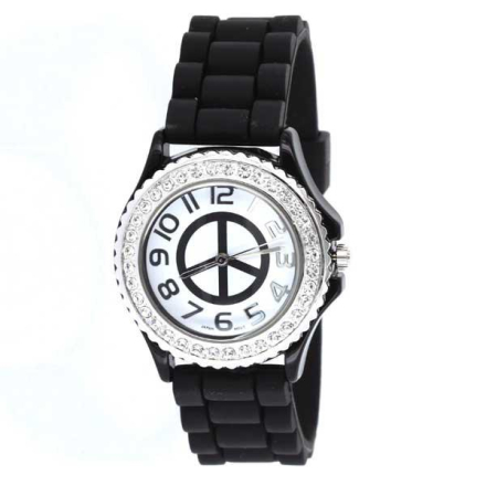 Klocka Black Round Peace Face Rubber Band Watch