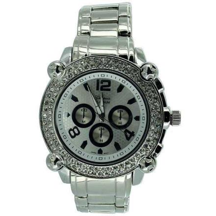 Klocka Heavy Chrono Platinum Bling Watch