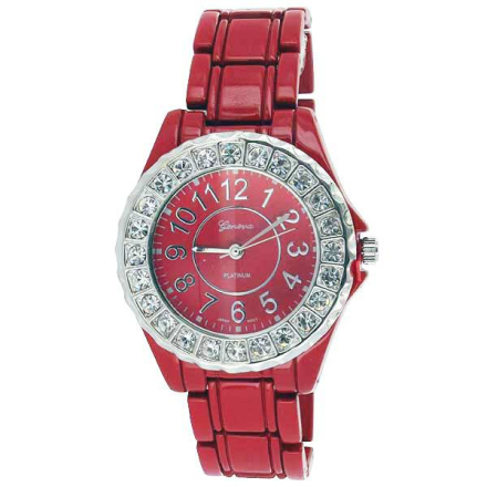 Klocka All Red Metal Band Bling Watch | Klockor