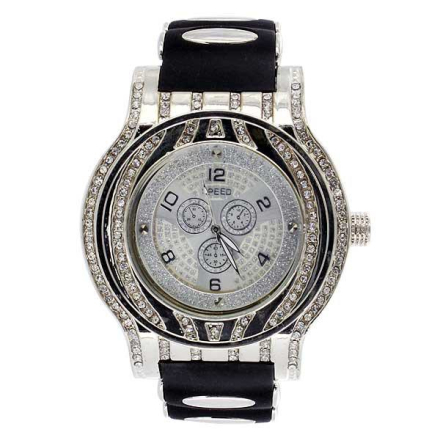 Klocka | Speed Platinum Silver Diamond Bling Watch