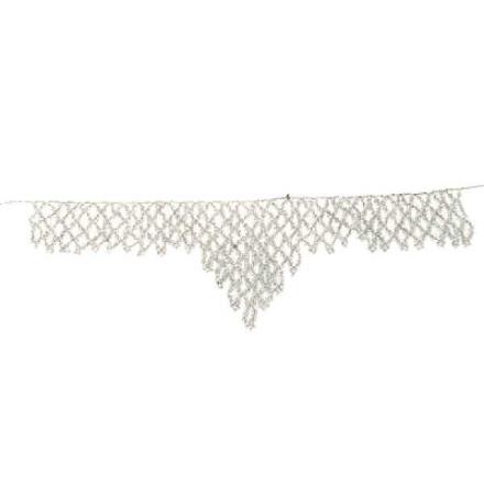Halsband Afrikanska Masai silvervita pärlor