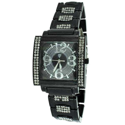 Klocka Black Crystal Bling CZ Square Face metal band Watch | Klockor