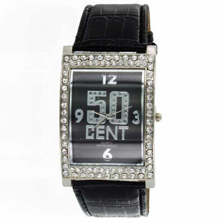 Klocka 50 Cent Bling Black Face Leather band watch