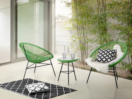 Trädgårdsmöbelset grön - utemöbler - balkongmöbler - bord + 2 stolar - ACAPULCO