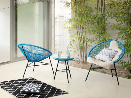 Trädgårdsmöbelset blå - utemöbler - balkongmöbler - bord + 2 stolar - ACAPULCO